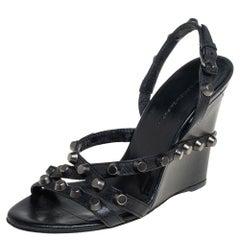 Balenciaga Black Leather Studded Slingback Wedge Sandals Size 37