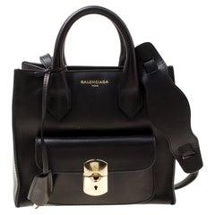 Balenciaga Black Leather Top Handle Bag