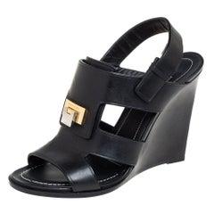 Balenciaga Black Leather Wedge Sandals Size 37