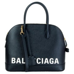 BALENCIAGA black leather white LOGO VILLE MEDIUM TOP HANDLE Bag