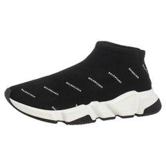 Balenciaga Black Logo Print Knit Speed Trainer Sneakers Size 40
