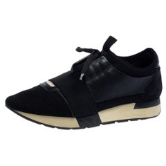 Balenciaga Black Mesh And Leather Race Runner Sneakers Size 40