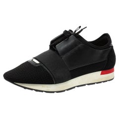 Balenciaga Black Mesh And Leather Race Runner Sneakers Size 42