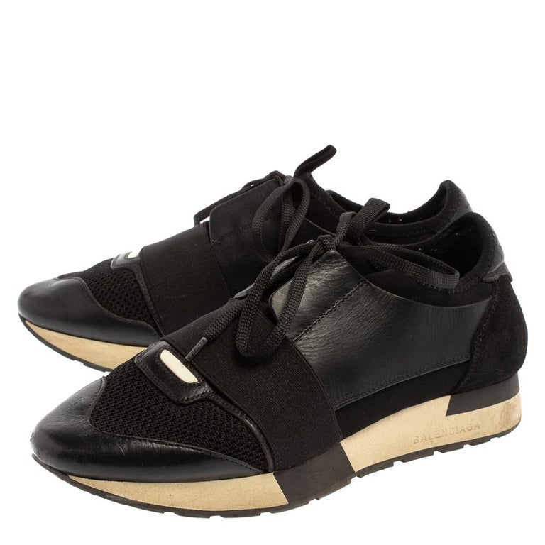 Women's Balenciaga Black Mesh And Suede Leather Race Runner Low-Top Sneakers Size 39 For Sale