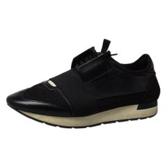 Balenciaga Black Mesh And Suede Race Runner Sneakers Sizs 43