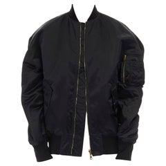 BALENCIAGA black nylon oversized MA-1 reversible orange jacquard bomber jacket S