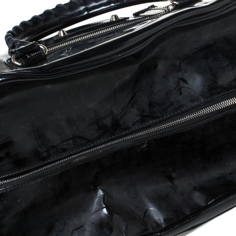 Balenciaga Black Patent Leather Bowling MM Bag For Sale 7