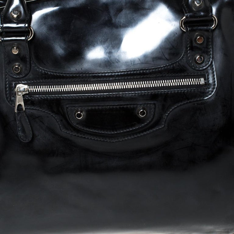 Balenciaga Black Patent Leather Bowling MM Bag For Sale 8