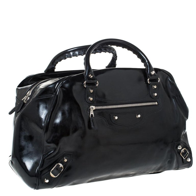 Women's Balenciaga Black Patent Leather Bowling MM Bag For Sale