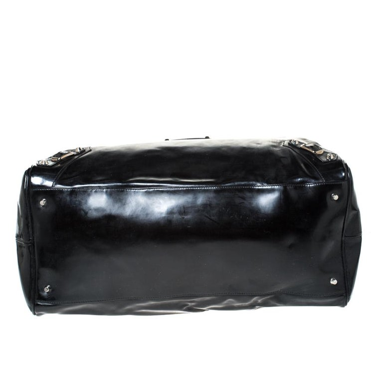 Balenciaga Black Patent Leather Bowling MM Bag For Sale 1