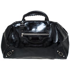 Balenciaga Black Patent Leather Bowling MM Bag