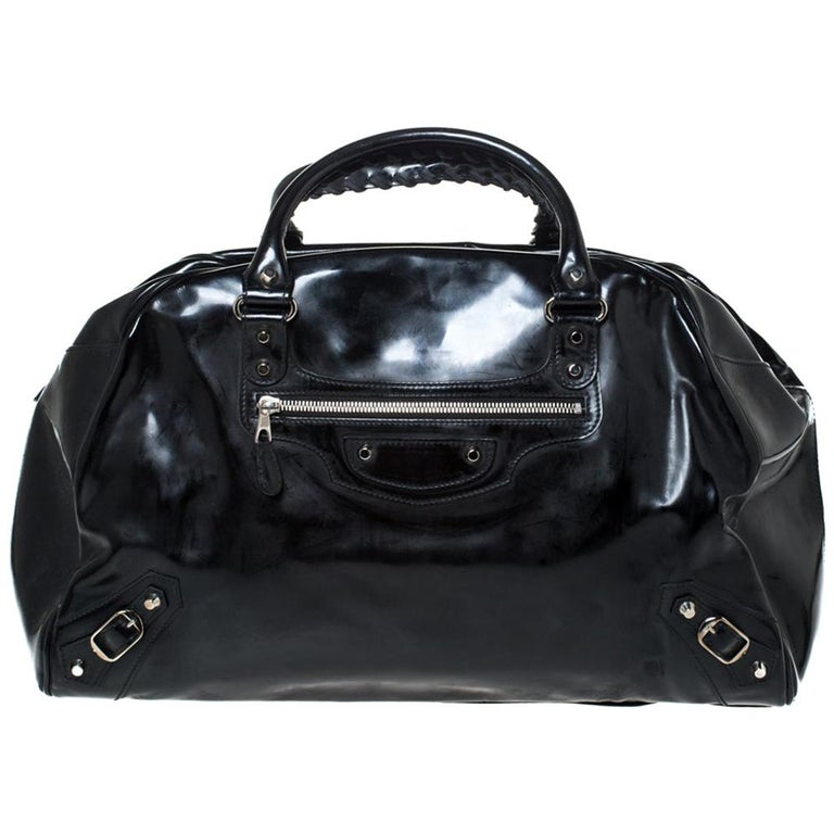 Balenciaga Black Patent Leather Bowling MM Bag For Sale