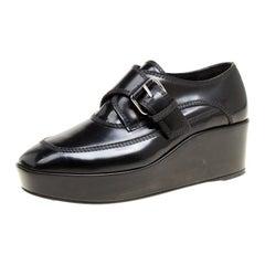 Balenciaga Black Patent Leather Monk Strap Platform Loafers Size 36