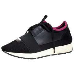 Balenciaga Black/Pink Leather, Suede And Nylon Race Runners Sneakers Size 40