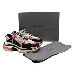 Balenciaga Black & Pink Triple S Distressed Trainers - Size EU 40