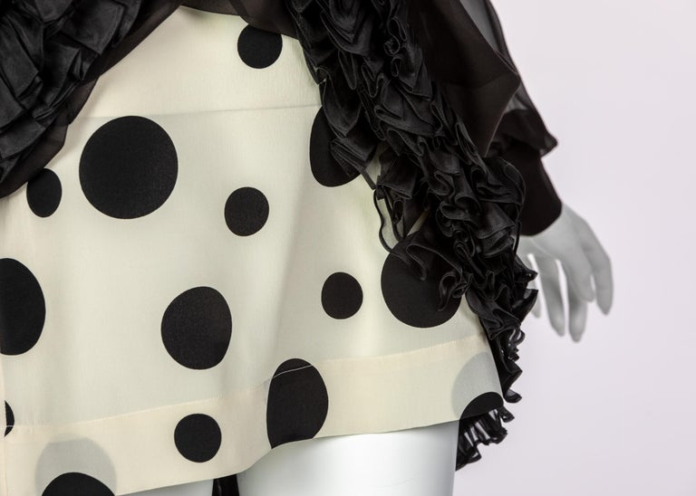 Balenciaga Black Polka Dot Silk Mini Dress, 1990s For Sale 6