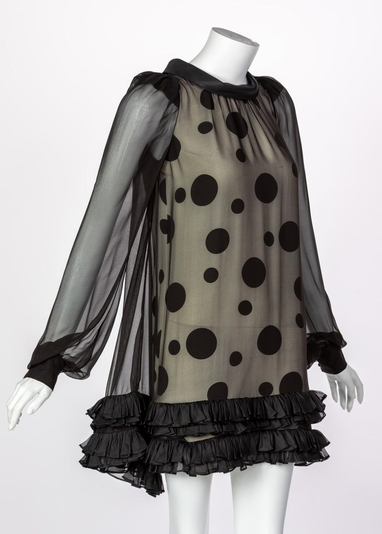 Balenciaga Black Polka Dot Silk Mini Dress, 1990s In Excellent Condition For Sale In Boca Raton, FL