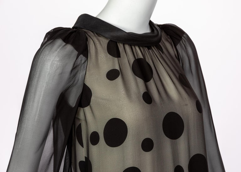 Balenciaga Black Polka Dot Silk Mini Dress, 1990s For Sale 2