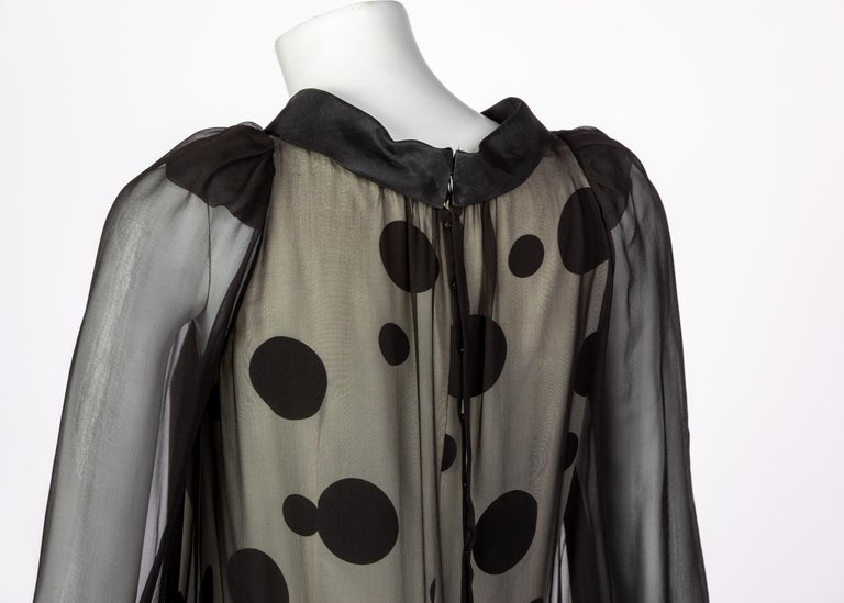 Balenciaga Black Polka Dot Silk Mini Dress, 1990s For Sale 3