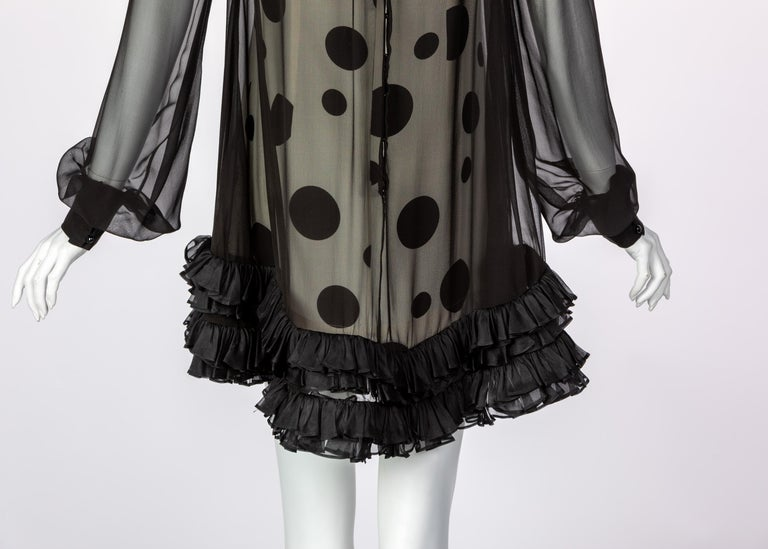 Balenciaga Black Polka Dot Silk Mini Dress, 1990s For Sale 4