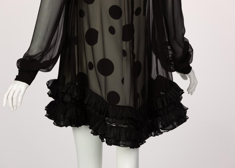 Balenciaga Black Polka Dot Silk Mini Dress, 1990s For Sale 5