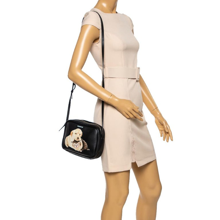 Balenciaga Black Puppy and Kitten Soft Leather Camera Crossbody Bag In Excellent Condition For Sale In Dubai, Al Qouz 2