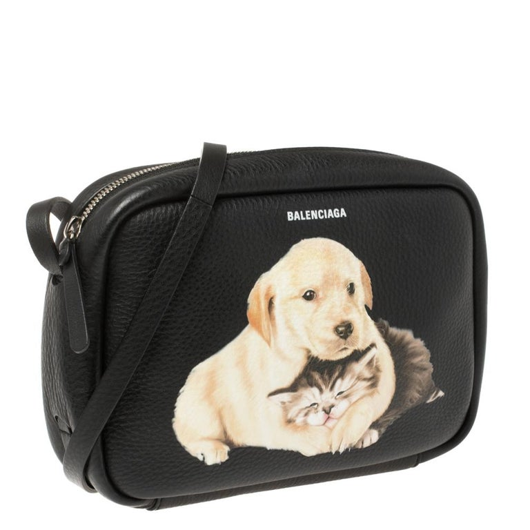 Women's Balenciaga Black Puppy and Kitten Soft Leather Camera Crossbody Bag For Sale