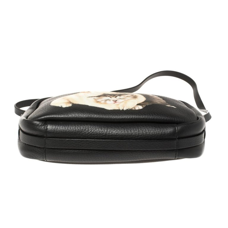 Balenciaga Black Puppy and Kitten Soft Leather Camera Crossbody Bag For Sale 1