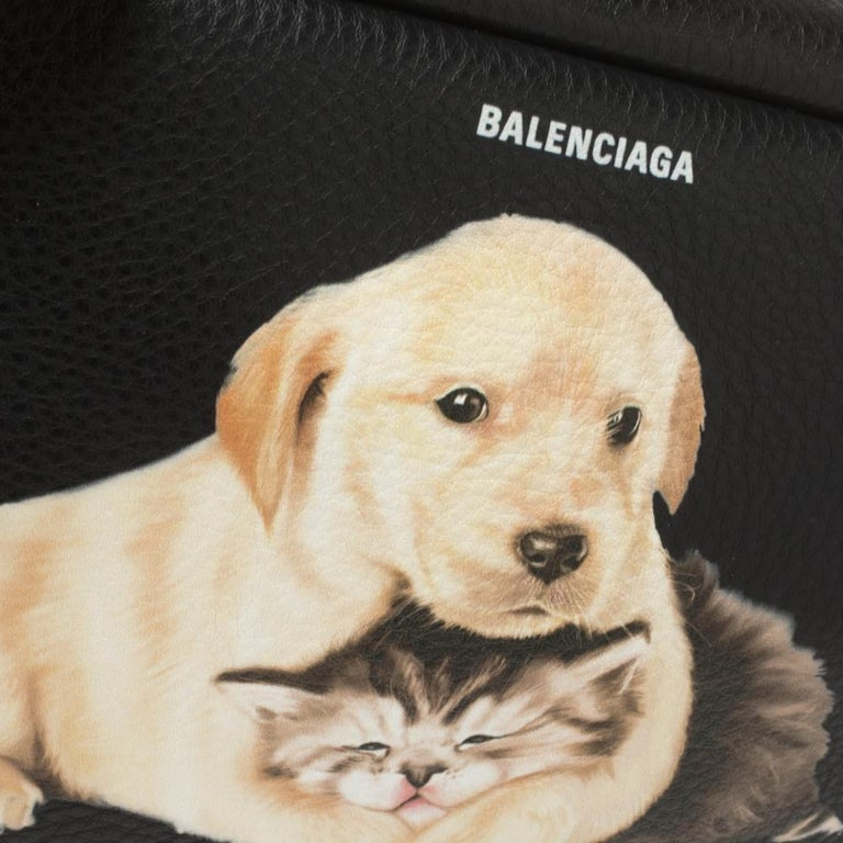 Balenciaga Black Puppy and Kitten Soft Leather Camera Crossbody Bag For Sale 5