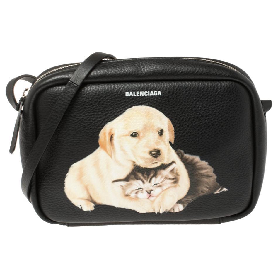 Balenciaga Black Puppy and Kitten Soft Leather Camera Crossbody Bag