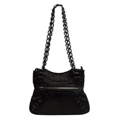 Balenciaga Black Satin Chain Moto Evening Bag