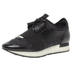 Balenciaga Black Shimmery Fabric and Leather Race Runners Sneakers Size 38