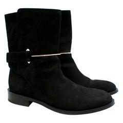 Balenciaga Black Suede Bar Buckle Detail Boots 41