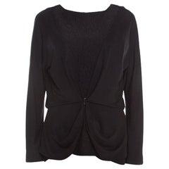 Balenciaga Black Textured Jersey Sleeveless Top and Jacket Set L