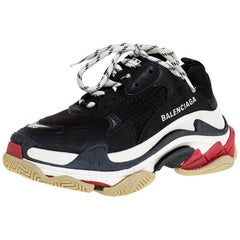 Balenciaga Black/White Leather and Mesh Triple S Platform Sneakers Size 35