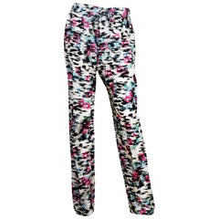 Balenciaga Black/White Silk Pants W/ Pink Flowers Sz 34