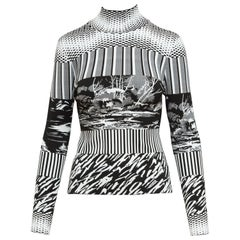 Balenciaga Black & White Stretch Mockneck Sweater