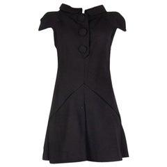 BALENCIAGA black wool COLLARED SHORT SLEEVE MINI Dress 36 XS
