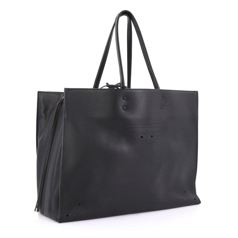 Balenciaga Blackout A4 Zip Around Tote Leather Large In Good Condition In New York, NY
