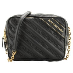 Balenciaga Blanket Reporter Shoulder Bag Quilted Embroidered Leather XS