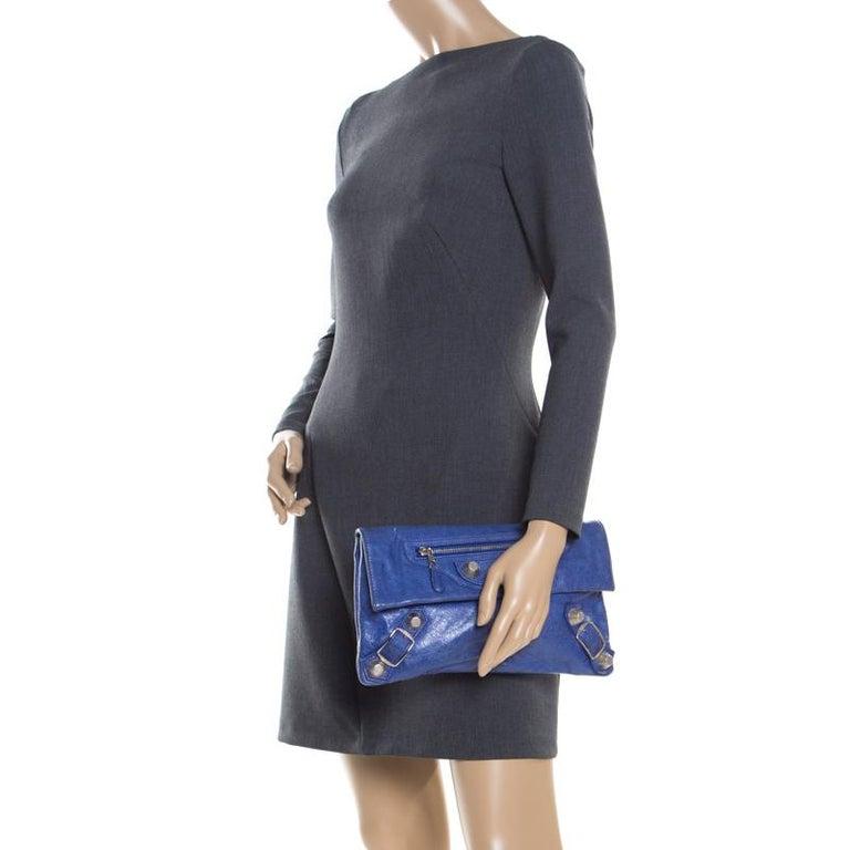 pretty nice famous designer brand vast selection Balenciaga Bleu Profond Leather GSH Envelope Clutch