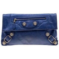 Balenciaga Bleu Profond Leather GSH Envelope Clutch
