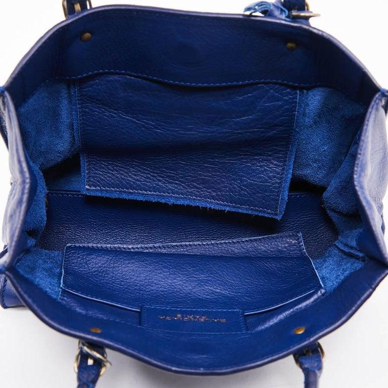 BALENCIAGA Blue A4 Mini Paper Leather Bag For Sale 6