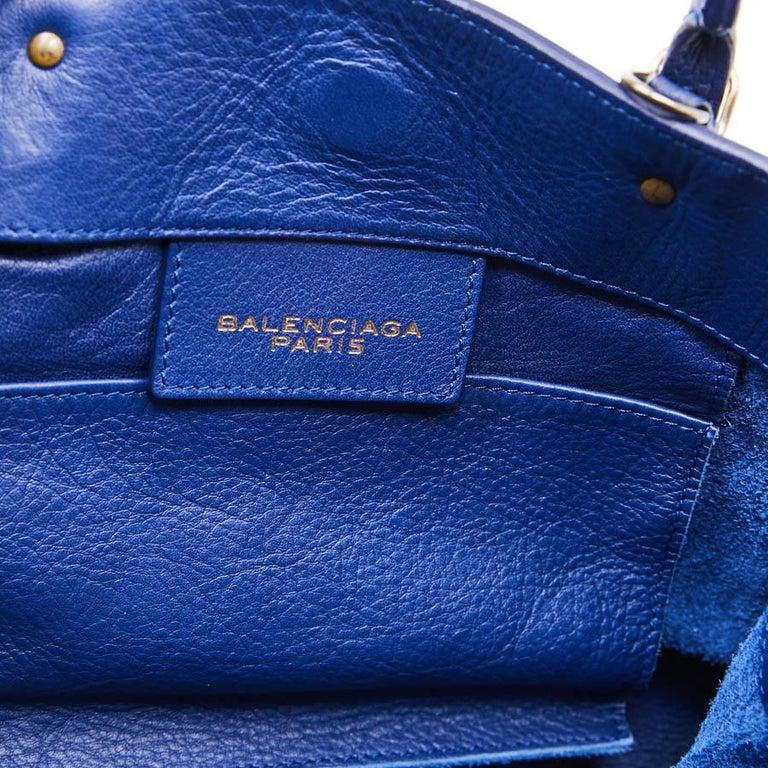 BALENCIAGA Blue A4 Mini Paper Leather Bag For Sale 7