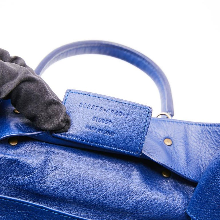 BALENCIAGA Blue A4 Mini Paper Leather Bag For Sale 8