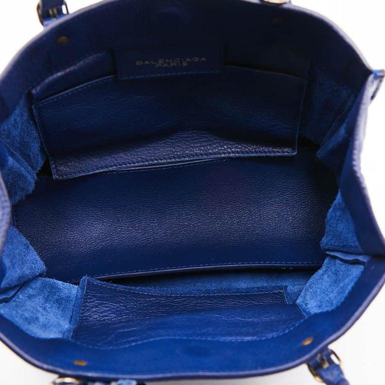 BALENCIAGA Blue A4 Mini Paper Leather Bag For Sale 9