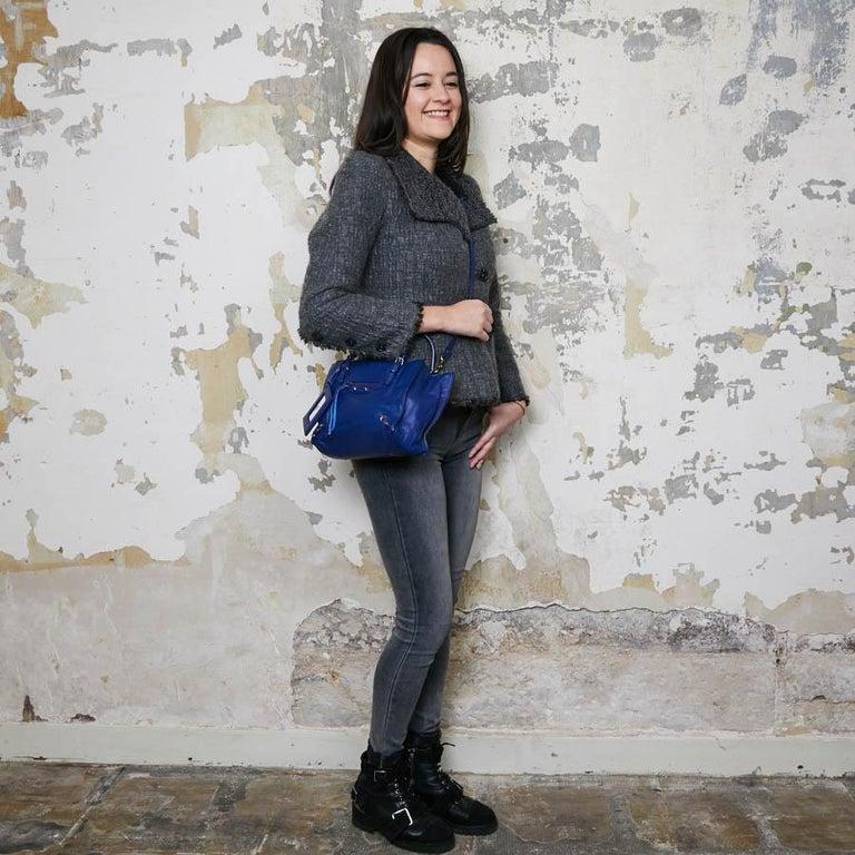 BALENCIAGA Blue A4 Mini Paper Leather Bag For Sale 10