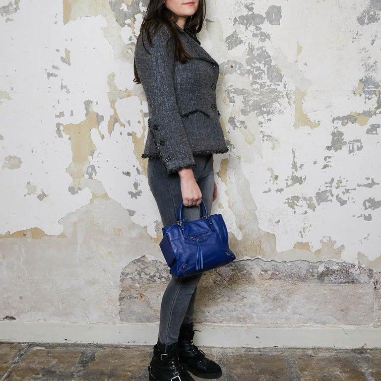 BALENCIAGA Blue A4 Mini Paper Leather Bag For Sale 11