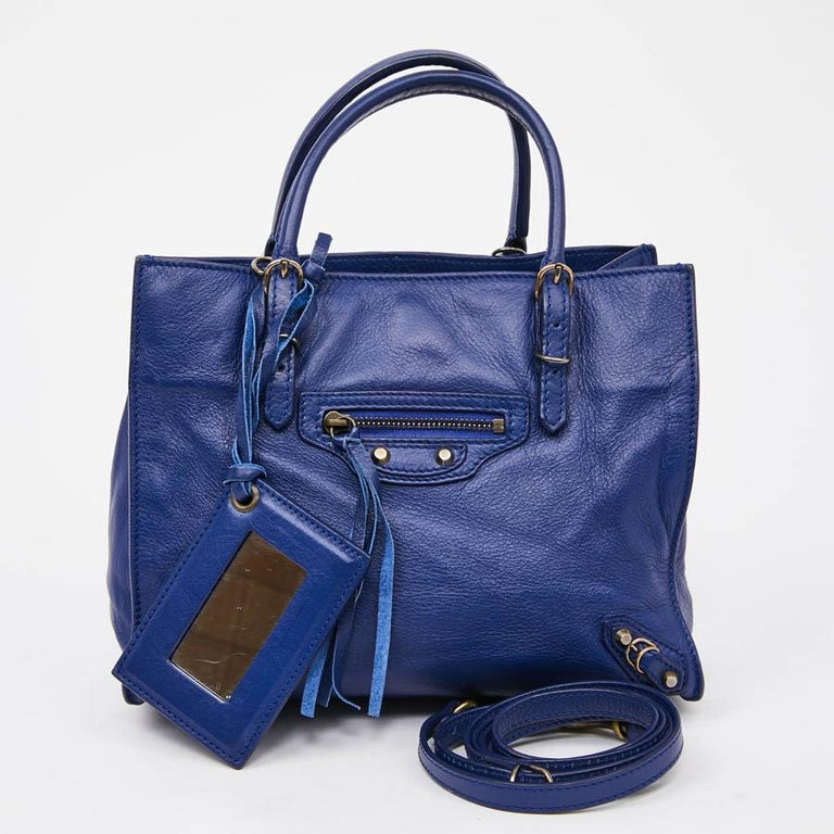BALENCIAGA Blue A4 Mini Paper Leather Bag In Excellent Condition For Sale In Paris, FR