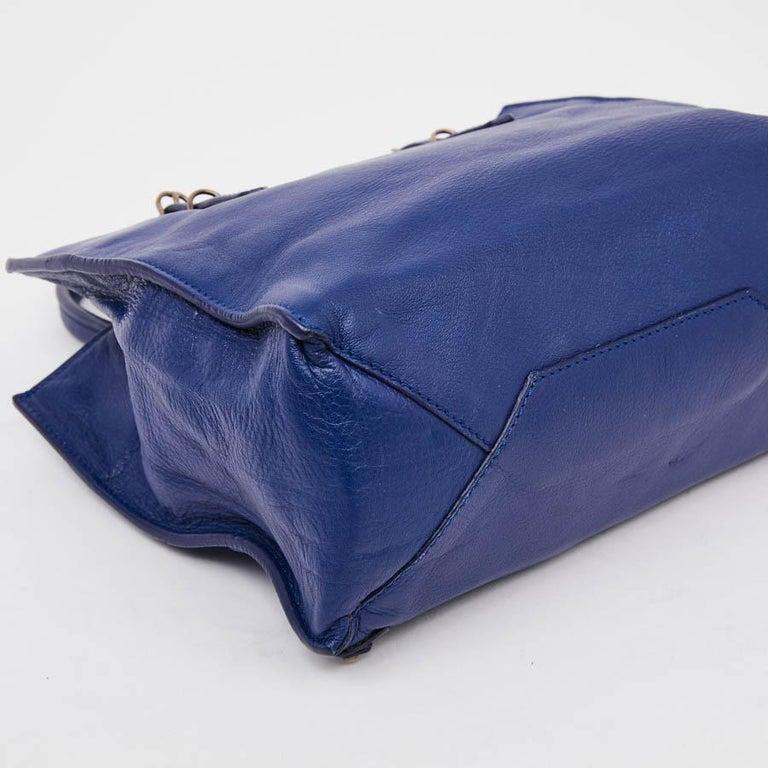 Women's BALENCIAGA Blue A4 Mini Paper Leather Bag For Sale